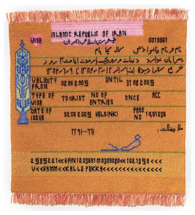 Dzamil Kamangar, Iranian Visa, bead knitting, 43 x 39 cm, 2012