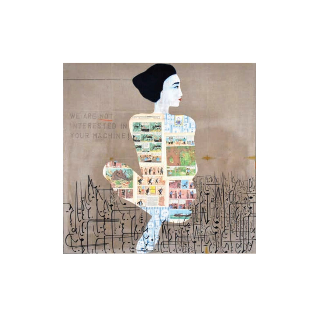 Jason Noushin, We are not Interested in Your Machines, oil, shellac, ink, turmeric and comik book leaves on linen, 122 x 122 cm, 2017