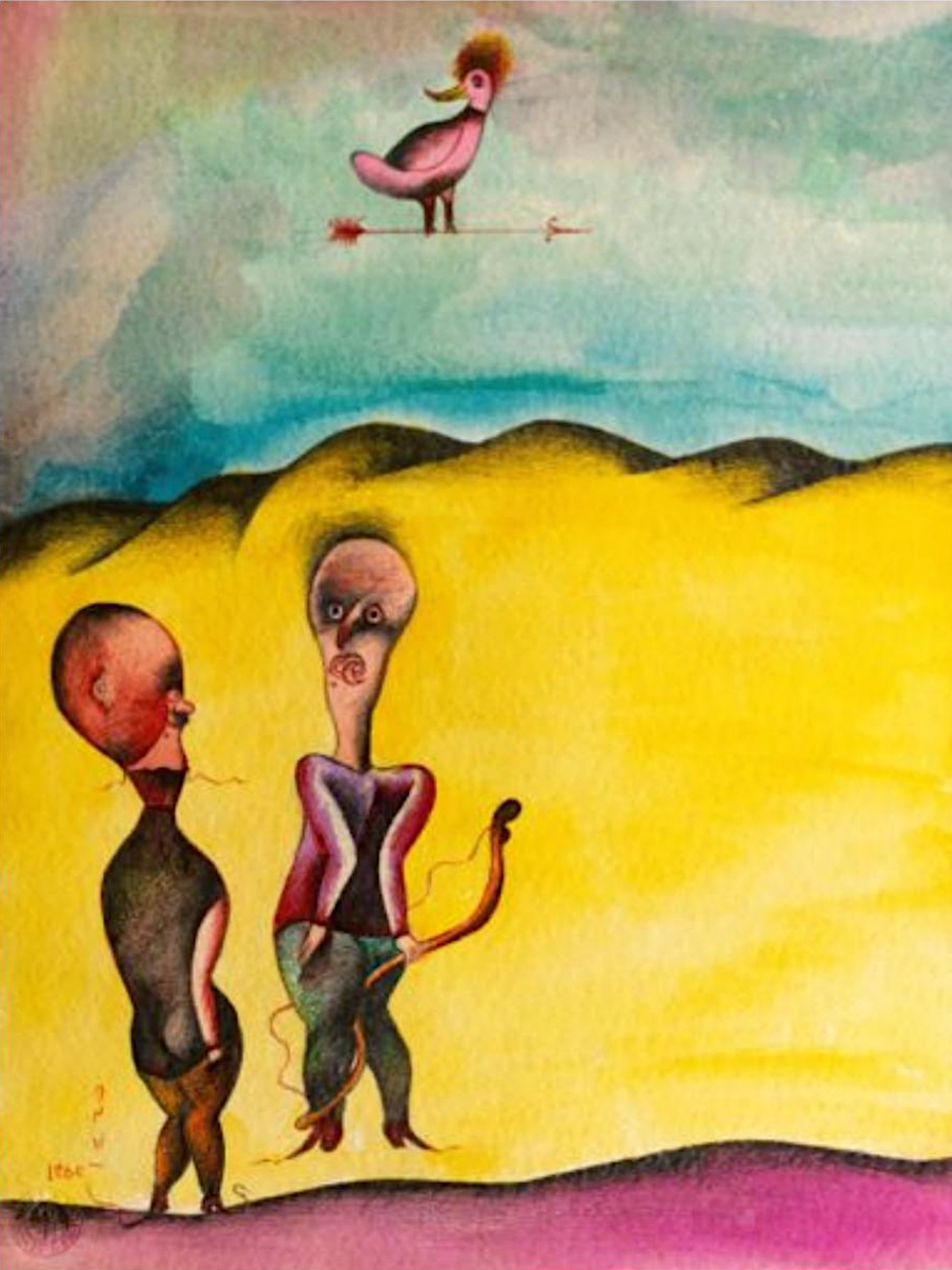 Ardeshir Mohassess, Untitled, Watercolor, pencil and ink on paper, 1974