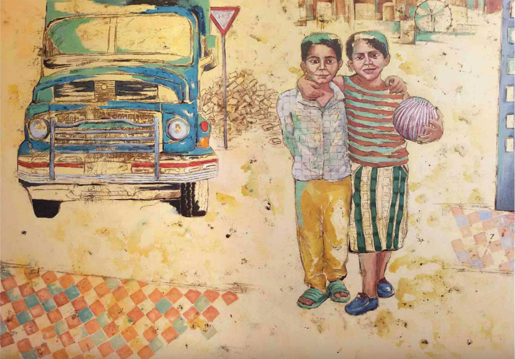 Behnaz Zangi, Untitled, acrylic and mixed media on canvas, 100 x 120 cm, 2015