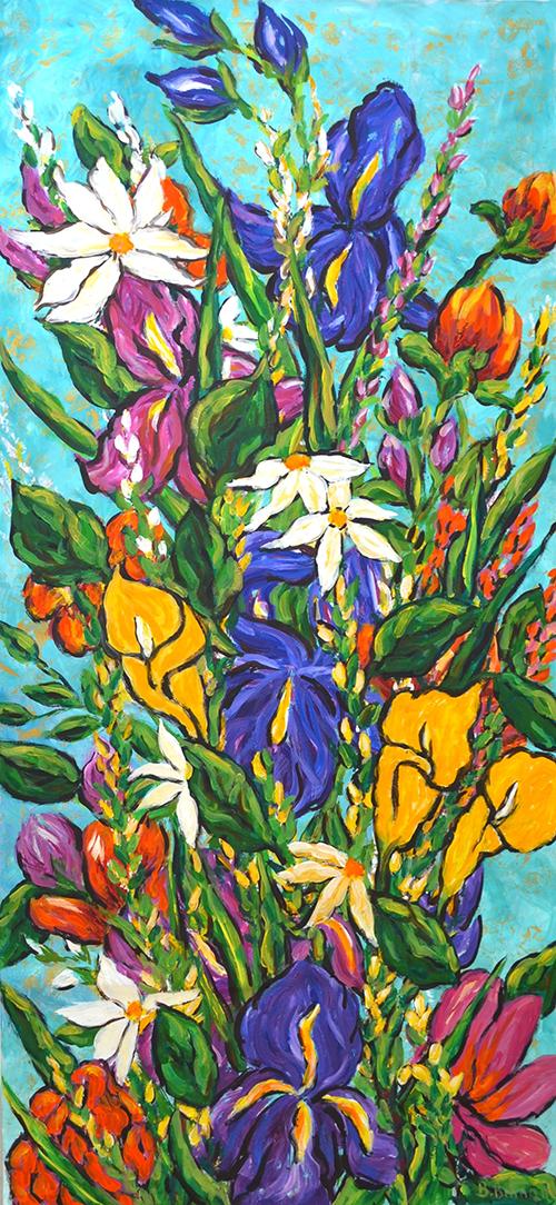 Behzad Behnam, Le Printemp, oil on canvas, 200 x 100 cm, 2012