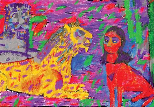 Farshid Mesghali, Woman Tiger, mixed media on canvas, 145 x 195 cm, 2012