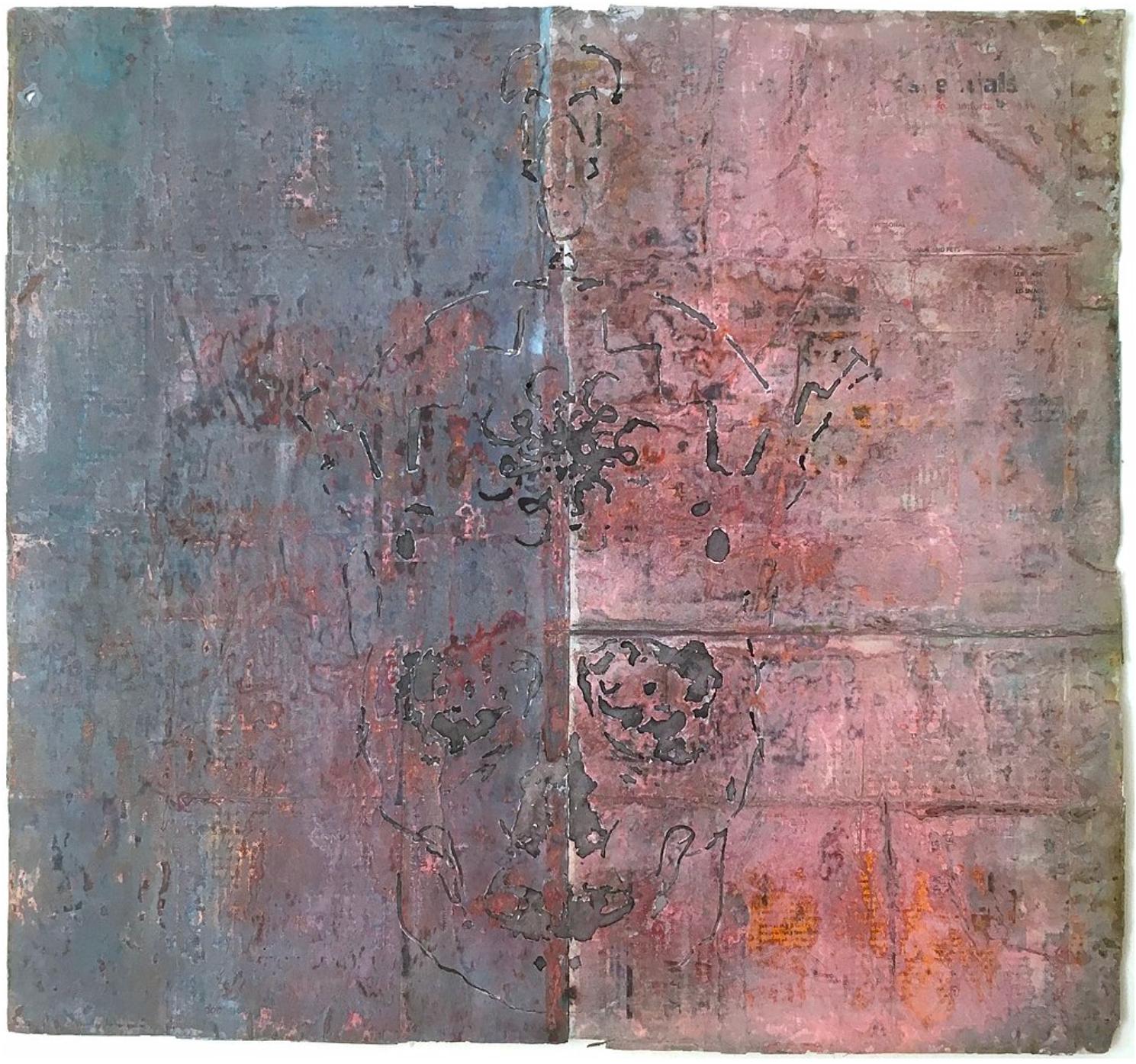 Farzad Kohan, King is Dead, mixed media on paper,56 x 52 cm, 2015