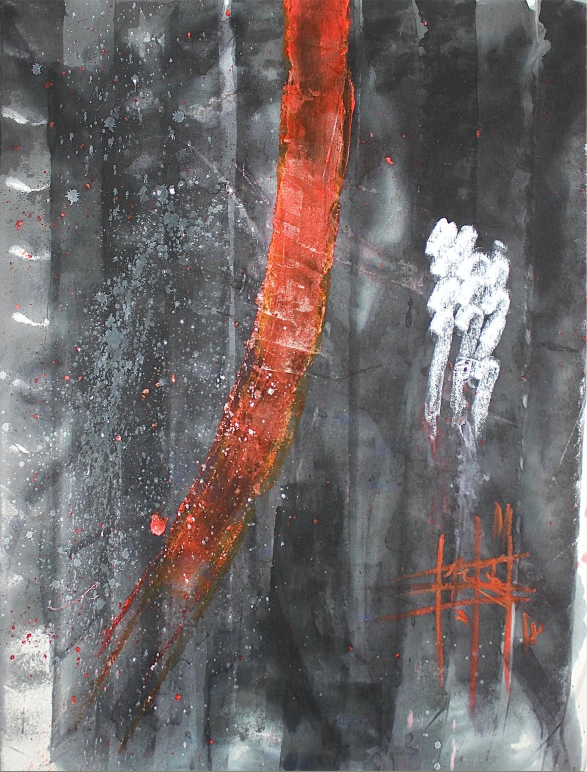 Firouz Farmanfarmaian, Totem II, plastic, pigment, wax and oil on canvas, 130 x 100 cm, 2018