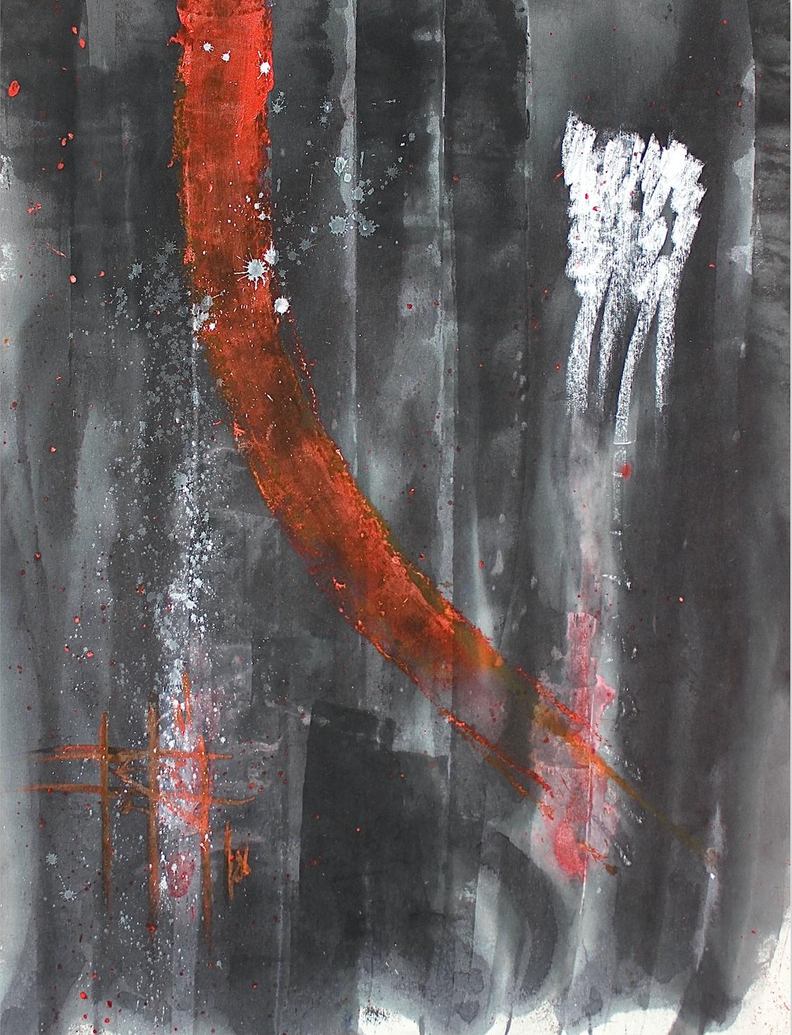 Firouz Farmanfarmaian, Totem III, plastic, pigment, wax and oil on canvas, 130 x 100 cm, 2018