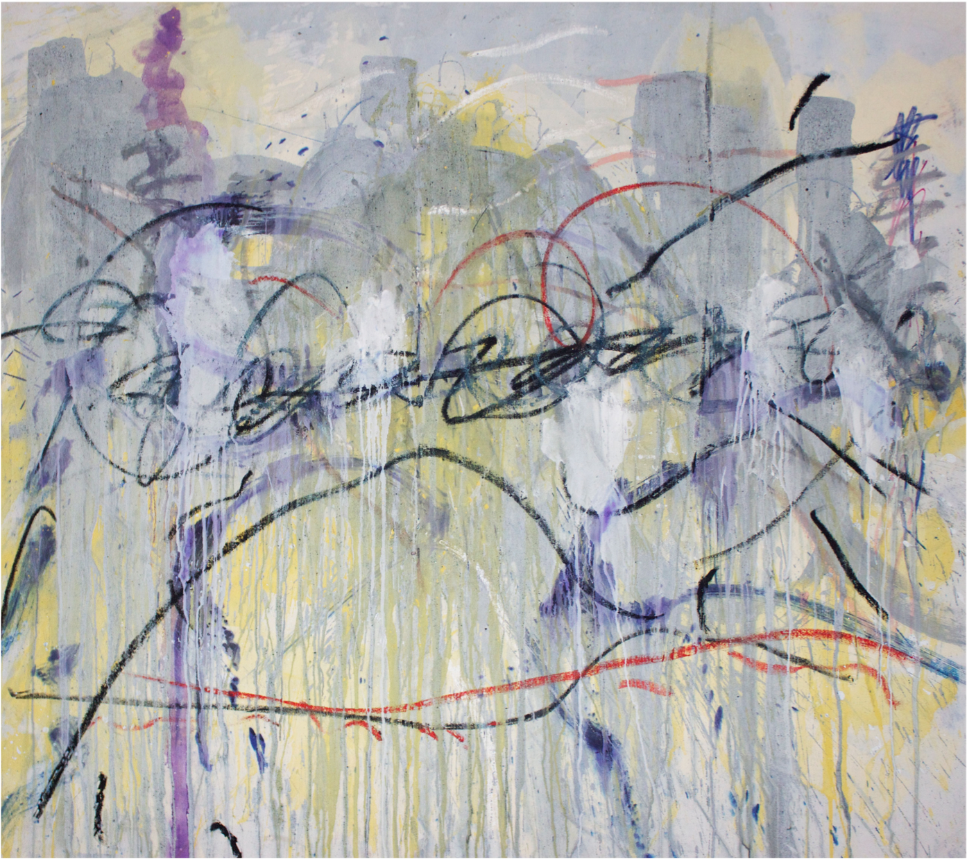 Oceanic Asphalt 4, Pigment, acrylic and oil stick on canvas, 180 x 200 cm, 2016
