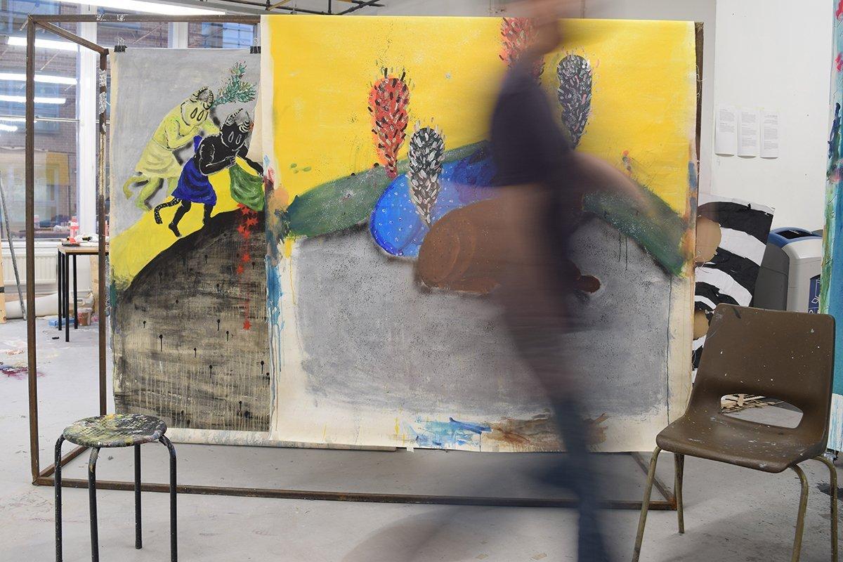 Ghalamdar in his studio