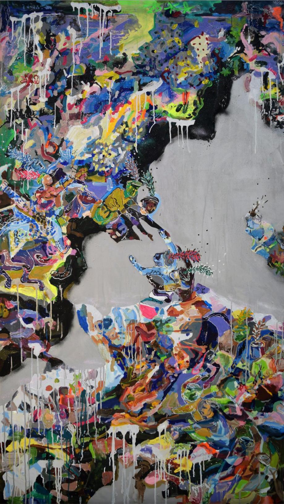 Ghalamdar, Freaks Crossin the River, acrylic, marker and spray paint on canvas, 200 x 110 cm, 2017