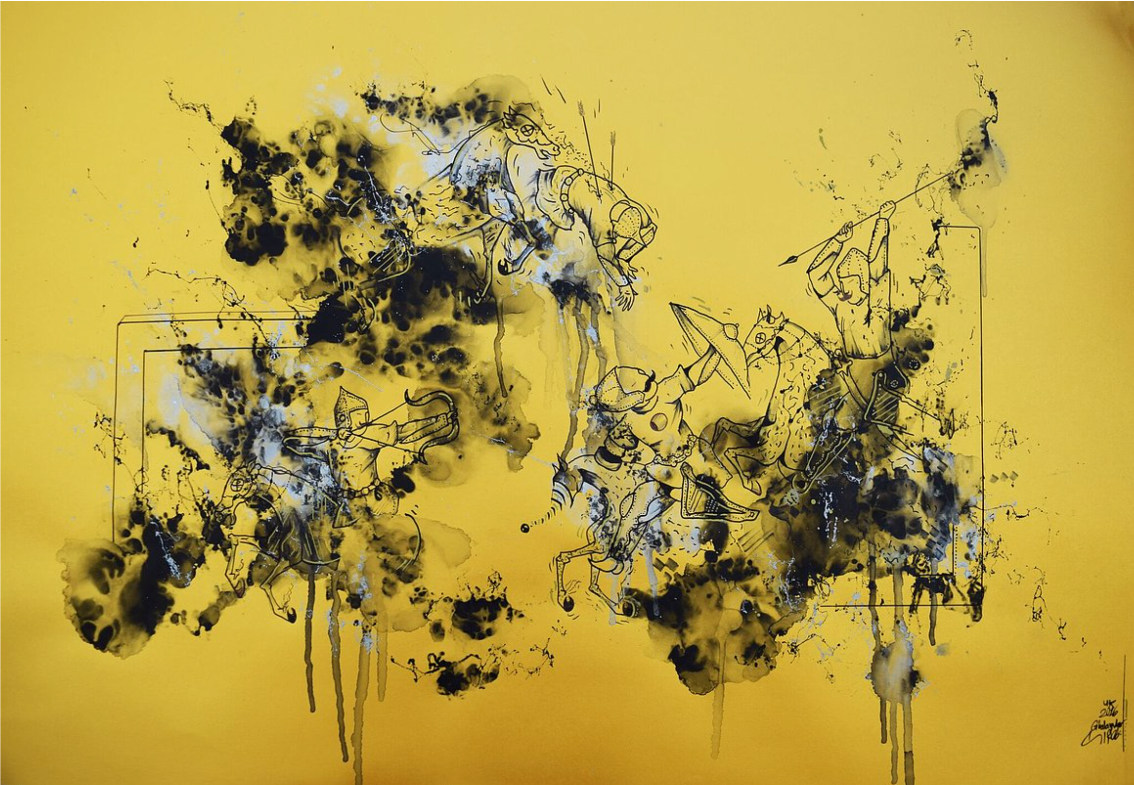 Ghalamdar, Untitled, unique screen print, ink and spray paint on pearl scent paper, 60 x 84 cm, 2016