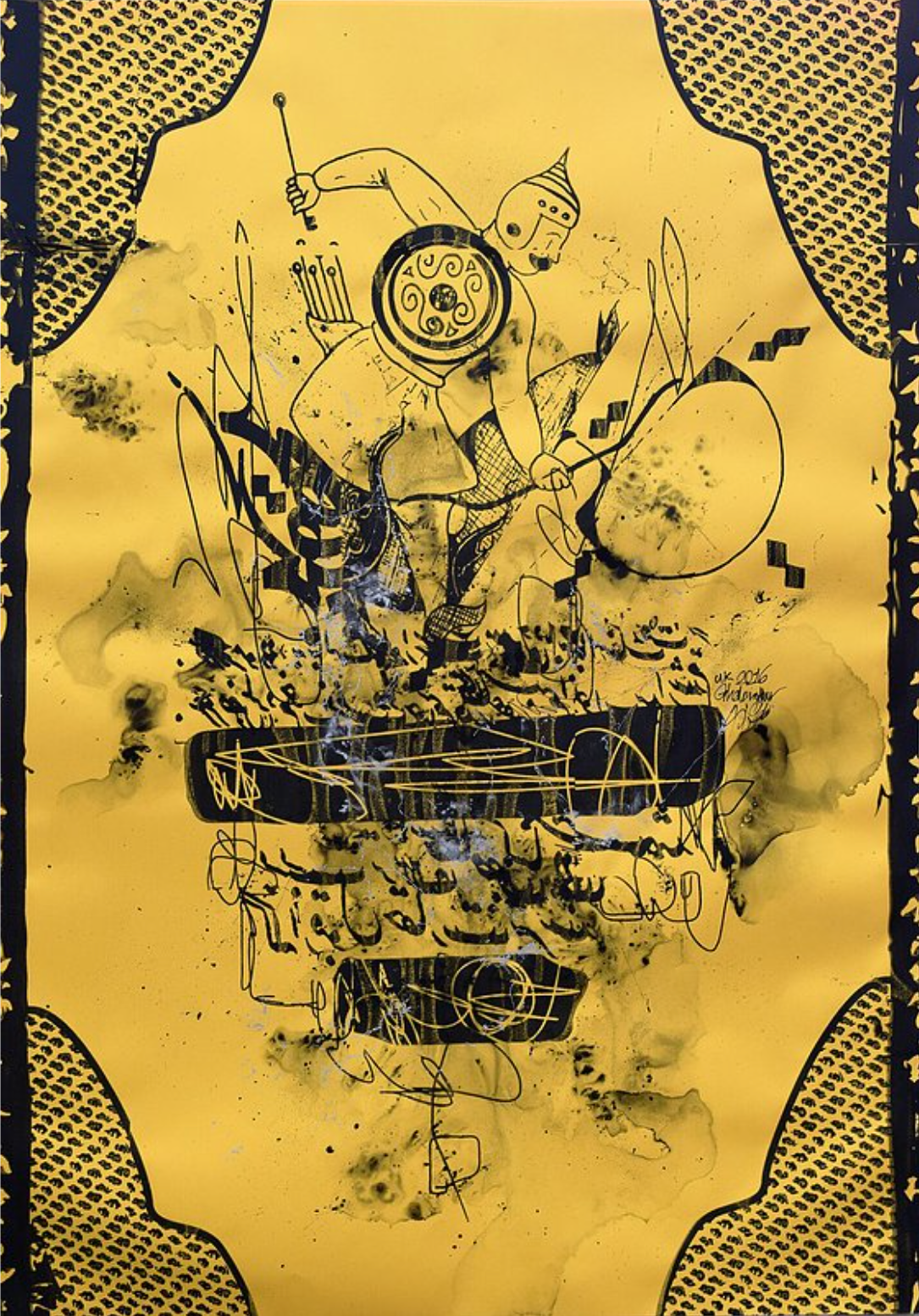 Ghalamdar, Untitled, ink and spray paint on pearl scent paper, 84 x 60 cm, 2016