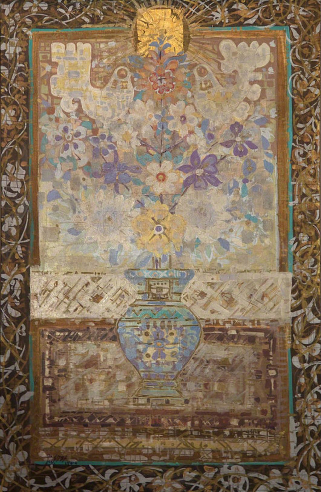 Jafar Rouhbakhsh, Untitled, mixed media on canvas, 90 x 58 cm, 1989