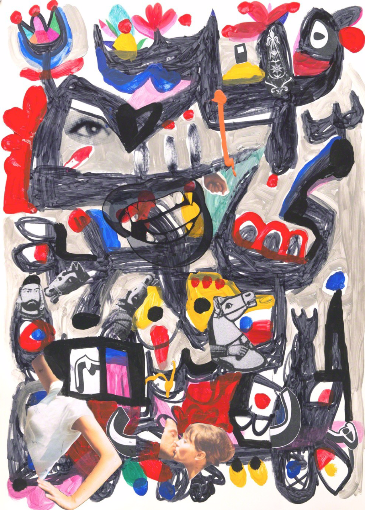 Mohammad Khodashenas, Look, marker, acrylic, sticker and collage on coated paper, 100 x 70 cm, 2017