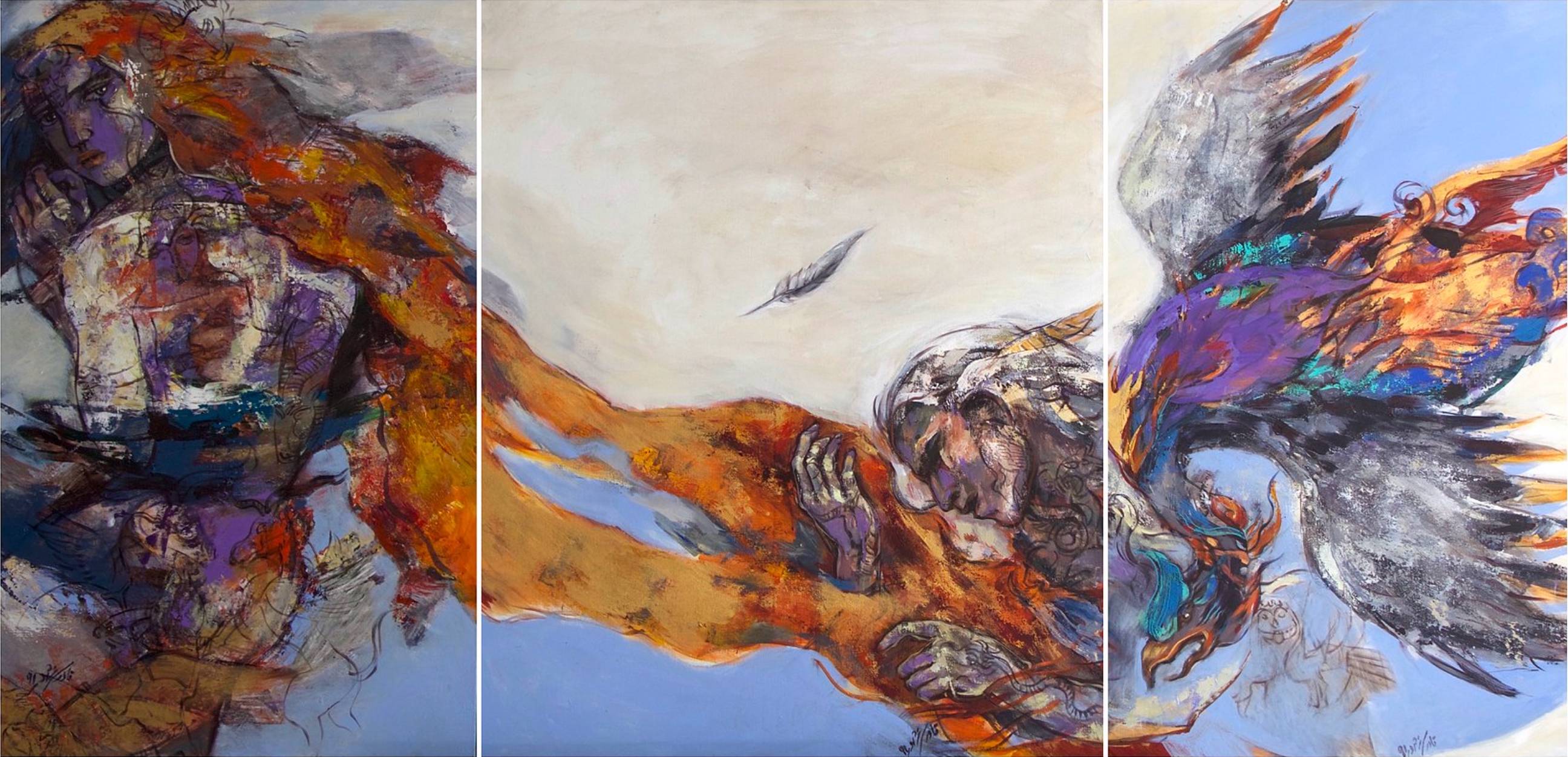 Niloufar Ghaderinejad, Untitled, mixed media on canvas, 120 x 180 cm, 2008