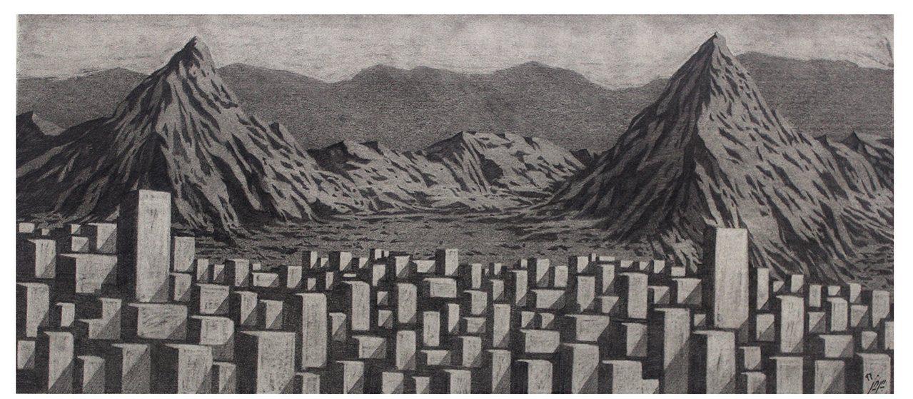 Parham Peyvandi, NO2, pencil on cardboard, 45 x 20 cm, 2016