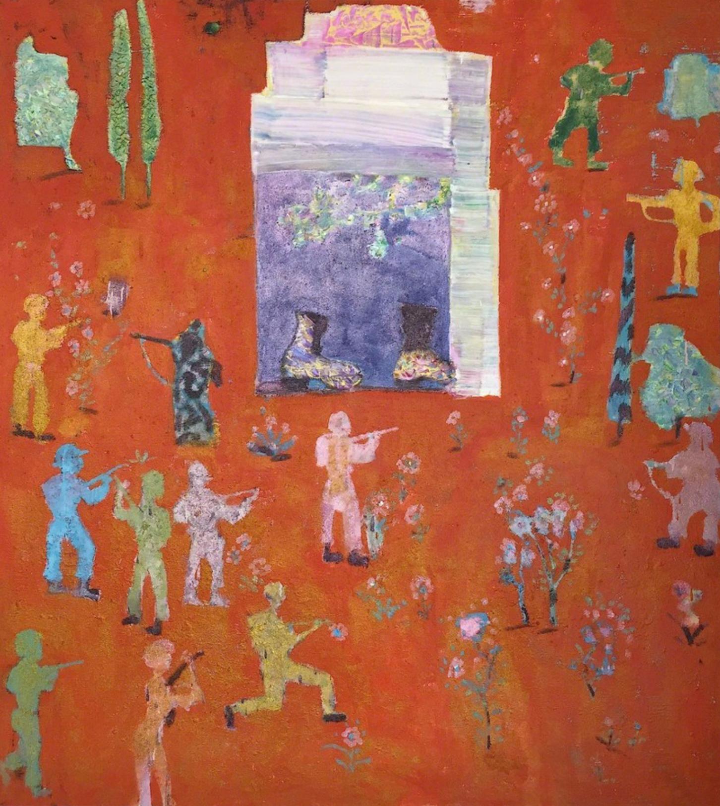 Reza Derakshani, Guns and Roses, oil, enamel and glitter on canvas, 190 x 170 cm, 2013