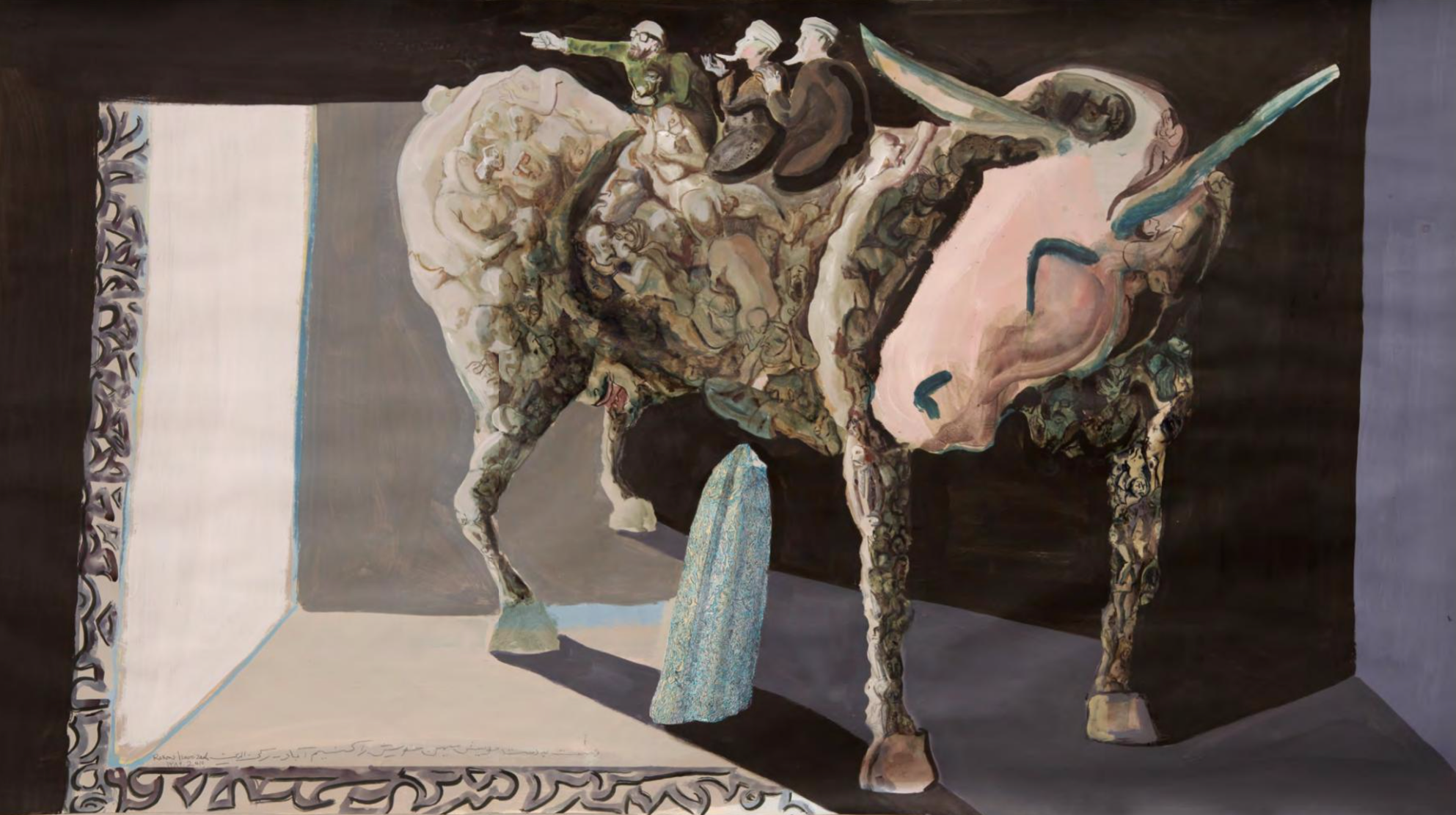 Rokni Haerizadeh, We Will Join Hands in Love and Rebuild our Country, watercolor and gesso on paper, 120 x 216 cm, 2011
